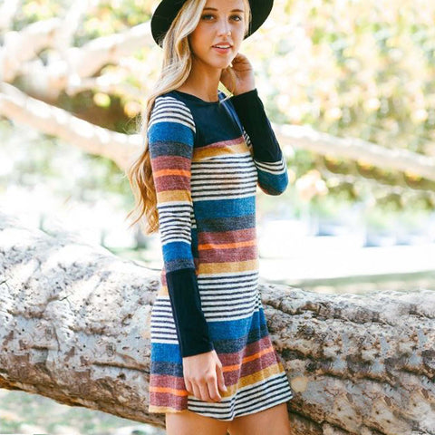 Rocky Stripe Dress in Black