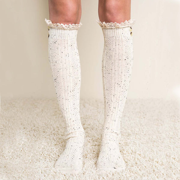 Rosewood Lace Socks in Oatmeal: Featured Product Image