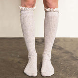Rosewood Lace Socks in Taupe: Alternate View #1