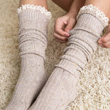 Rosewood Lace Socks in Taupe: Alternate View #2