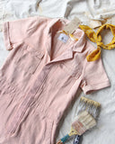 Rosie Short Coveralls in Pink: Alternate View #2