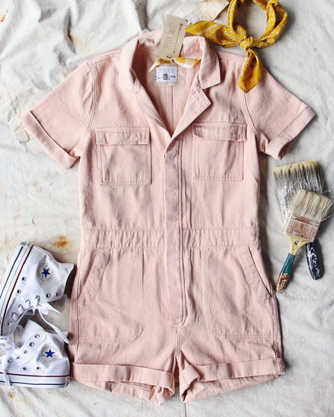 Rosie Short Coveralls in Pink: Featured Product Image