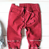 Sage Hills Moto Pants In Burgundy: Alternate View #2