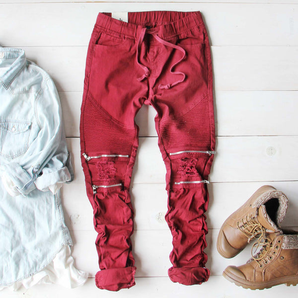 Sage Hills Moto Pants In Burgundy: Featured Product Image