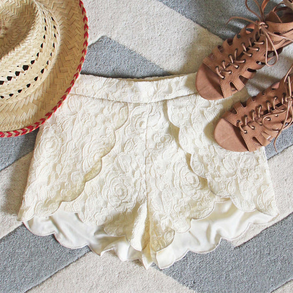 Scalloped Lace Shorts: Featured Product Image