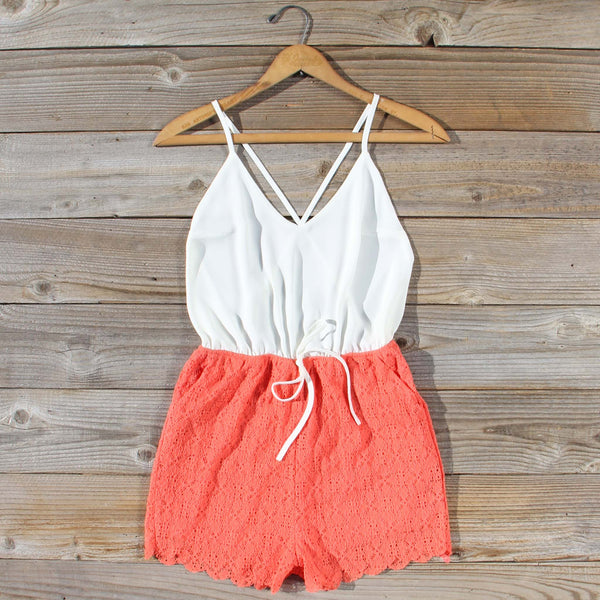 Sea Lace Romper in Coral: Featured Product Image