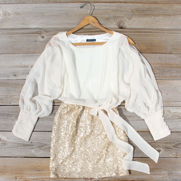 Sequined Autumn Dress in Cream: Featured Product Image