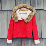 Sherpa Coat in Red: Alternate View #1