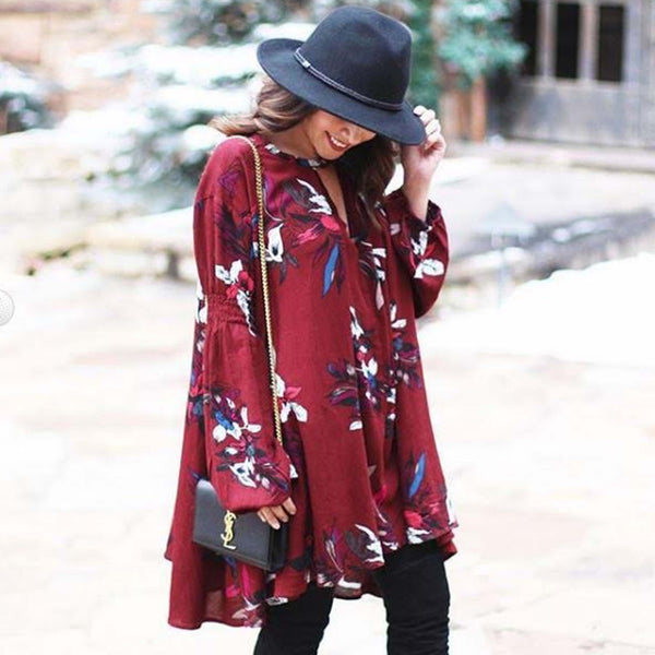 Lune & Stars Tunic Dress in Burgundy: Featured Product Image