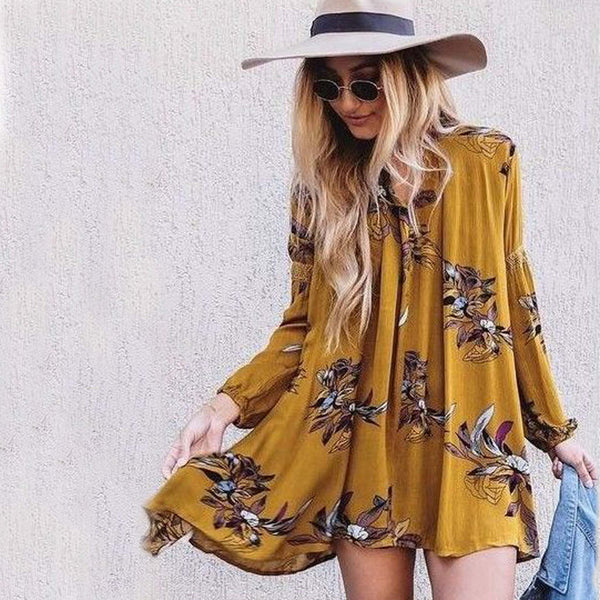 Lune & Stars Tunic Dress in Mustard: Featured Product Image