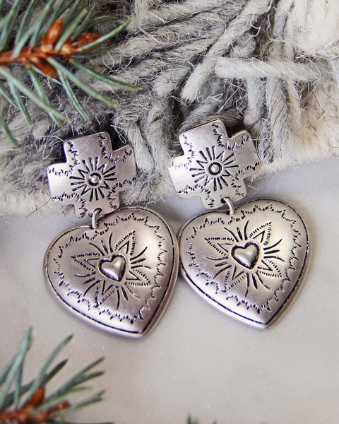 Sky Heart Earrings in Silver: Featured Product Image