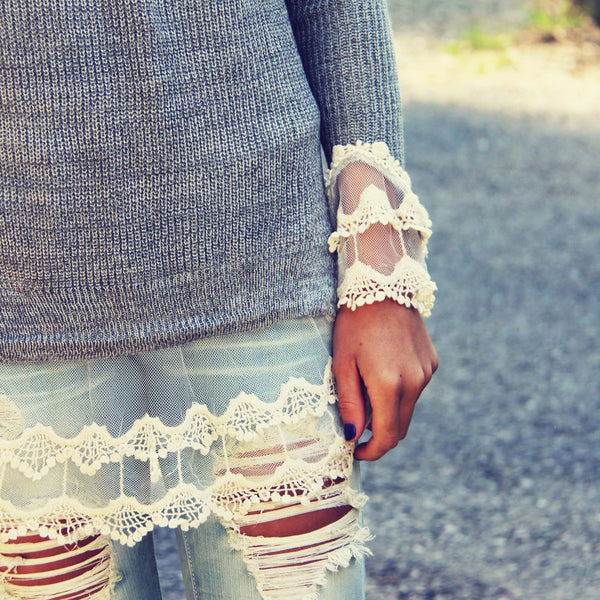 Skyline Lace Sweater in Ash: Featured Product Image