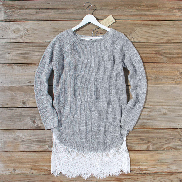 Skyline Lace Sweater Dress in Ash: Featured Product Image