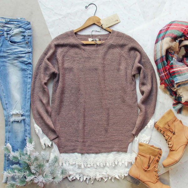 Skyline Lace Sweater in Timber: Featured Product Image