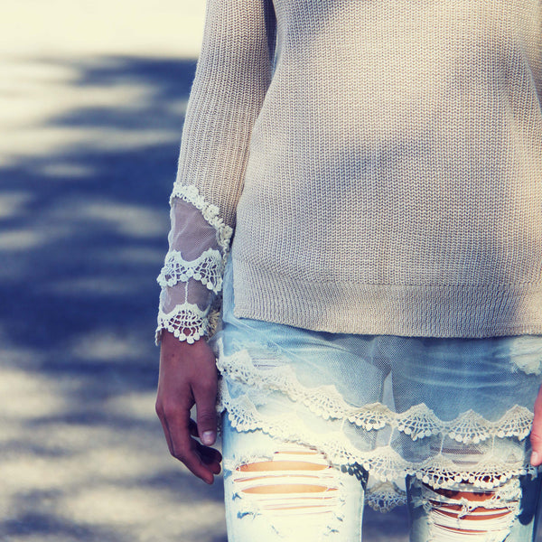 Skyline Lace Sweater in Sand: Featured Product Image