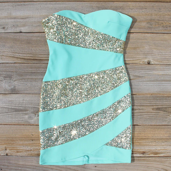 Snow Globe Party Dress in Mint: Featured Product Image