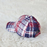 Snowcap Plaid Hat in Burgundy: Alternate View #2