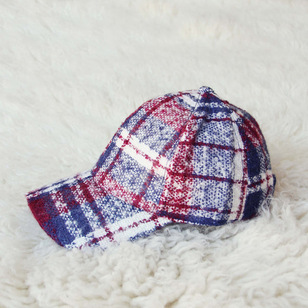 Snowcap Plaid Hat in Burgundy: Featured Product Image