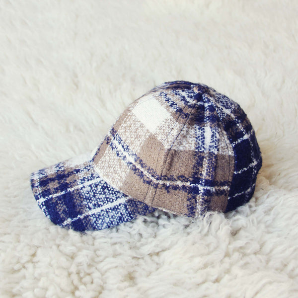 Snowcap Plaid Hat in Navy: Featured Product Image