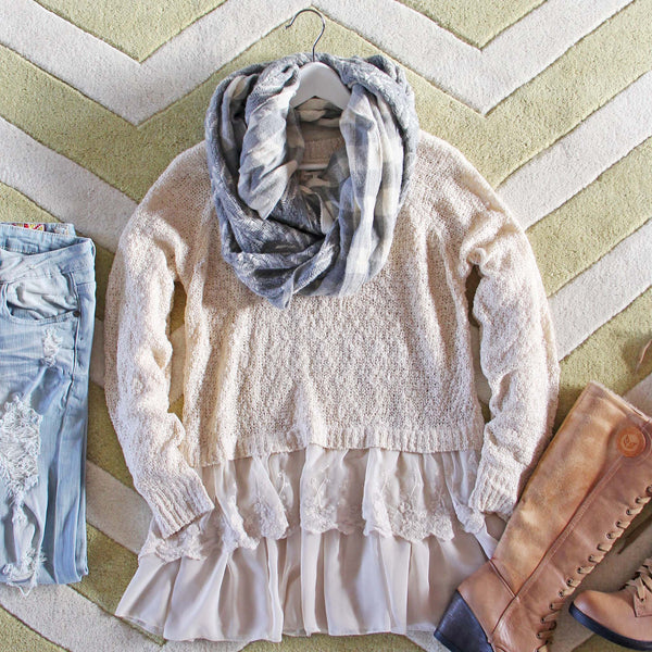 Snowflake Boyfriend Sweater in Cream: Featured Product Image