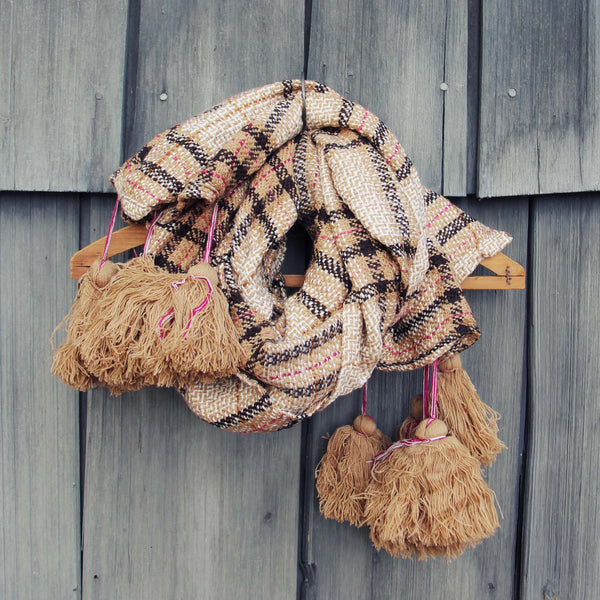 Snowy Cabin Tassel Scarf: Featured Product Image