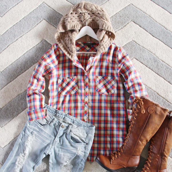 Snowy Canoe Plaid Top: Featured Product Image
