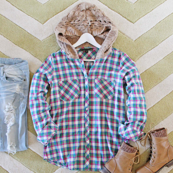 Snowy Canoe Plaid Top in Pine: Featured Product Image