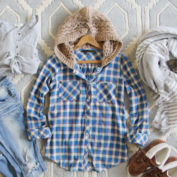 Snowy Canoe Plaid Top in Spruce: Featured Product Image