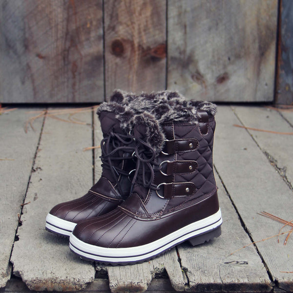 The Snowy Pines Snow Boots in Brown: Featured Product Image