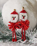 Snowy Santa Earrings: Alternate View #1