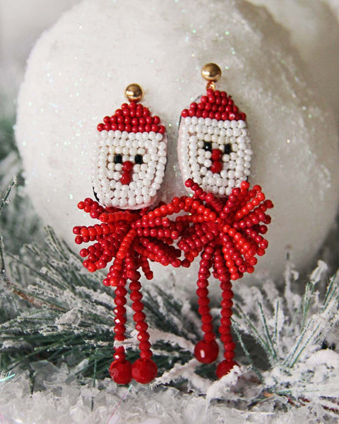 Snowy Santa Earrings: Featured Product Image