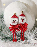 Snowy Santa Earrings: Alternate View #2