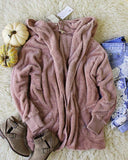 Softest Teddy Hoodie in Mauve: Alternate View #1