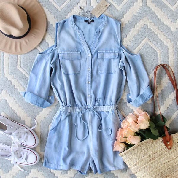 Sunny Chambray Romper: Featured Product Image