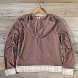 Spool Gym Lace Hoodie in Brown: Alternate View #4