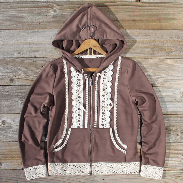Spool Gym Lace Hoodie in Brown: Featured Product Image