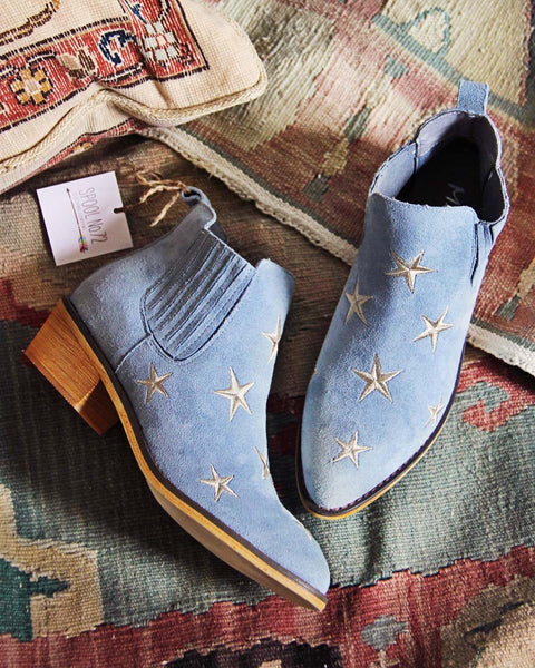 Starry Night Suede Boots in Sky: Featured Product Image