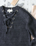 Stevie Lace-Up Sweater in Charcoal: Alternate View #3