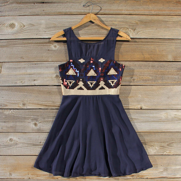 Stone Spell Beaded Dress in Navy: Featured Product Image