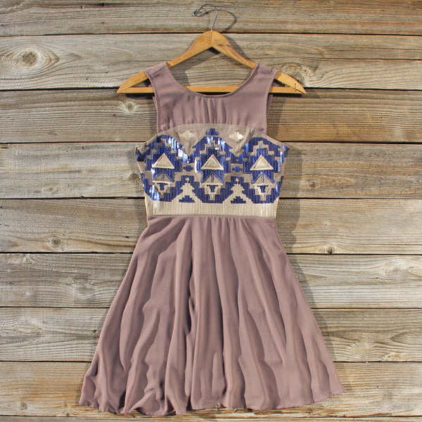 Stone Spell Beaded Dress in Dusty Taupe: Featured Product Image