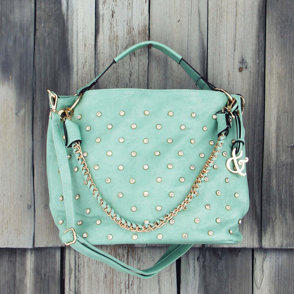 Stormy Skies Studded Tote in Mint: Featured Product Image