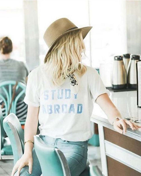 Mother Denim Brand Study Abroad Tee: Featured Product Image