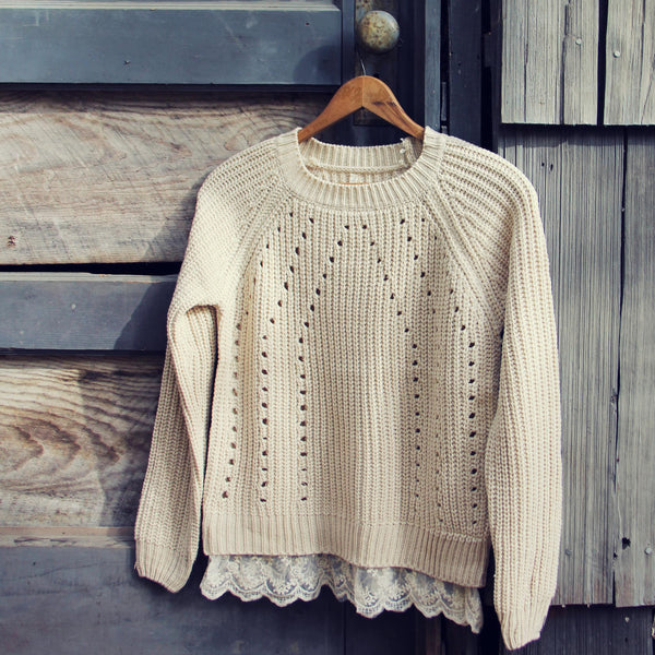 The Sugar Pine Lace Sweater in Cream: Featured Product Image