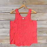 Summer Snow Lace Tank in Watermelon: Alternate View #4
