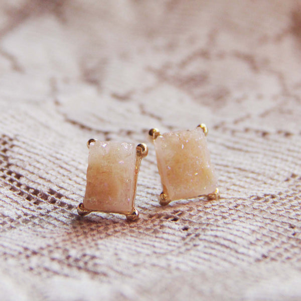 Sweet Druzy Earrings in Peach: Featured Product Image