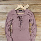 Sweet Lace-up Dress in Mauve: Alternate View #2