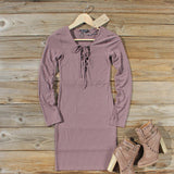 Sweet Lace-up Dress in Mauve: Alternate View #1