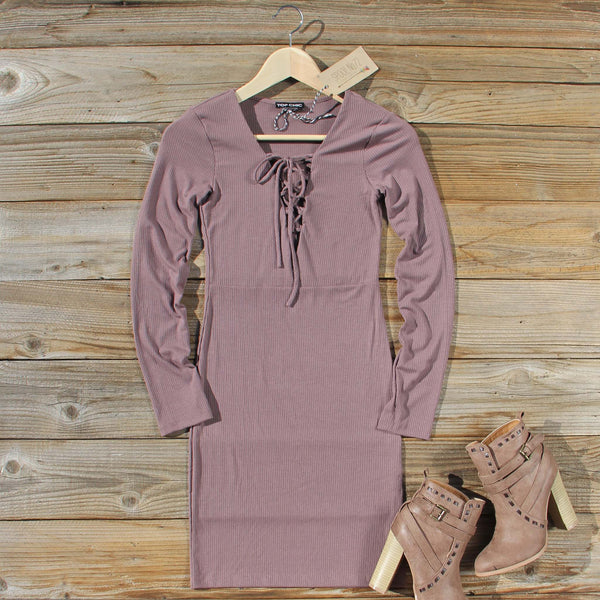 Sweet Lace-up Dress in Mauve: Featured Product Image