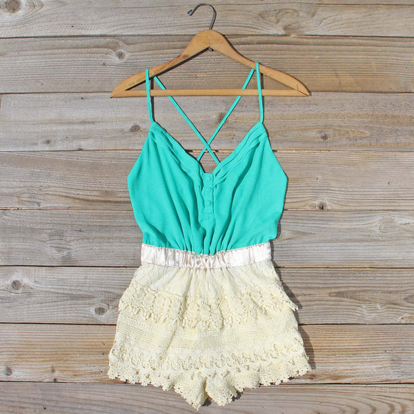 Sweet Nectar Romper in Sea: Featured Product Image