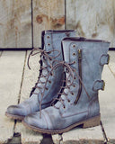 Sweet & Rugged Combat Boots in Brown: Alternate View #1